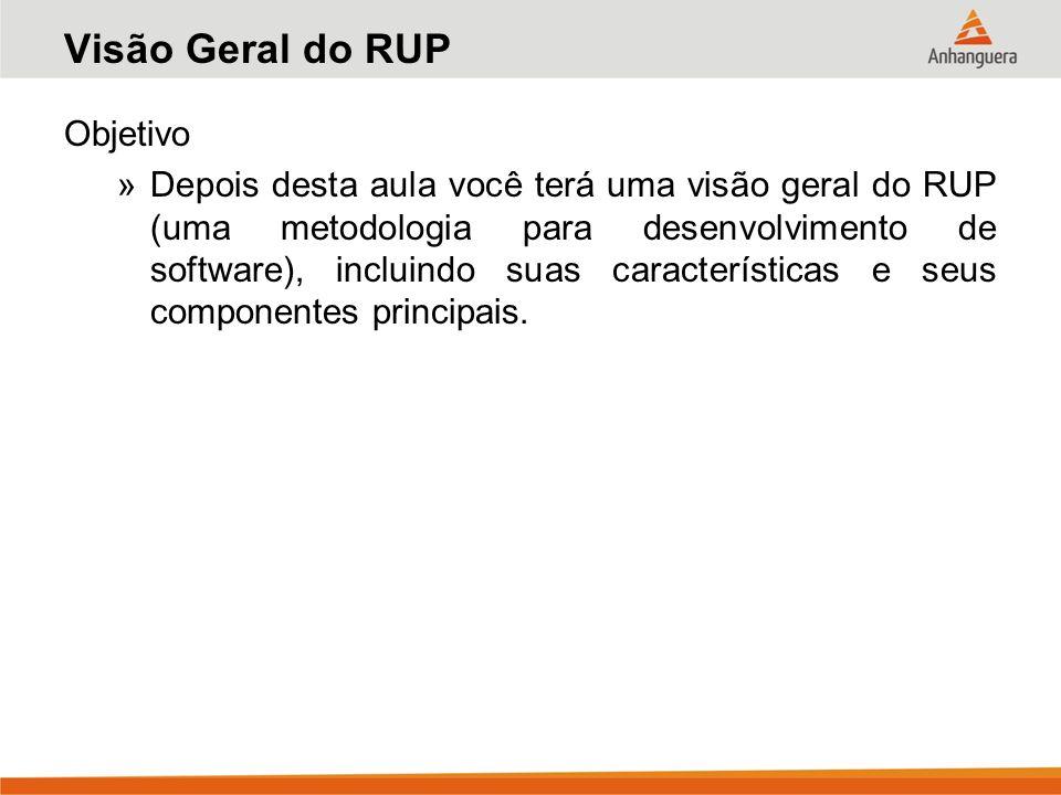 Visão Geral do RUP Objetivo »Depois desta aula você terá uma visão geral do RUP (uma metodologia para desenvolvimento de software), incluindo suas car