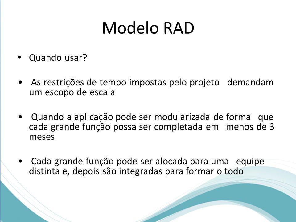 Modelo RAD Quando usar? As restrições de tempo impostas pelo projeto demandam um escopo de escala Quando a aplicação pode ser modularizada de forma qu