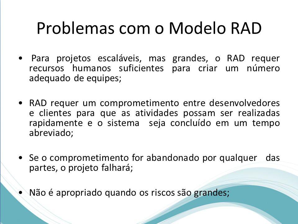 Problemas com o Modelo RAD Para projetos escaláveis, mas grandes, o RAD requer recursos humanos suficientes para criar um número adequado de equipes;