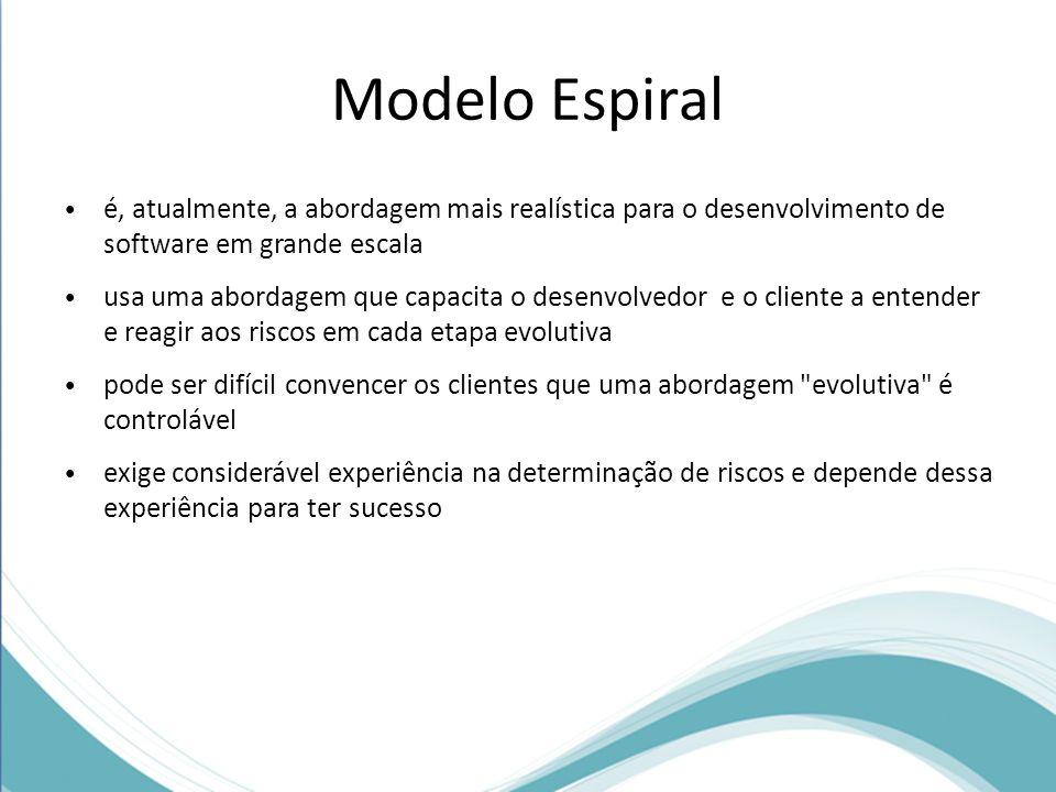 Modelo Espiral é, atualmente, a abordagem mais realística para o desenvolvimento de software em grande escala usa uma abordagem que capacita o desenvo