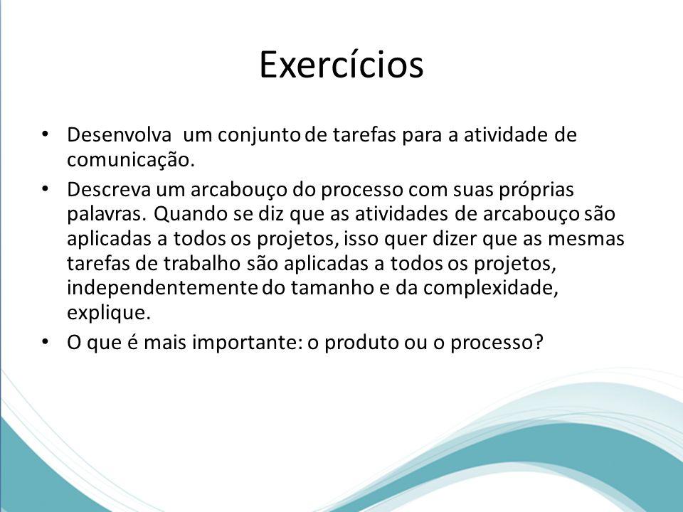 Exercícios Desenvolva um conjunto de tarefas para a atividade de comunicação. Descreva um arcabouço do processo com suas próprias palavras. Quando se