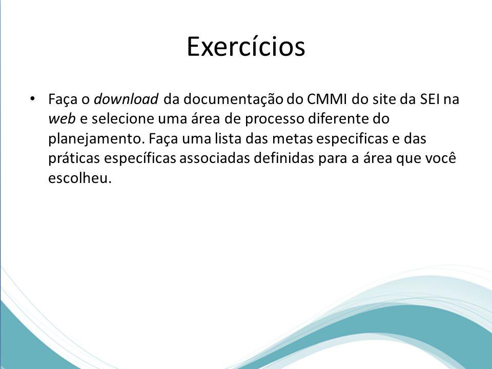 Exercícios Faça o download da documentação do CMMI do site da SEI na web e selecione uma área de processo diferente do planejamento. Faça uma lista da