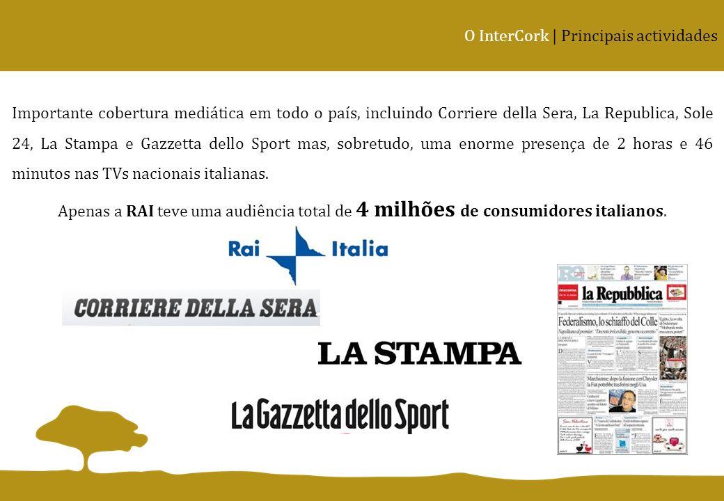 O InterCork | Principais actividades Importante cobertura mediática em todo o país, incluindo Corriere della Sera, La Republica, Sole 24, La Stampa e