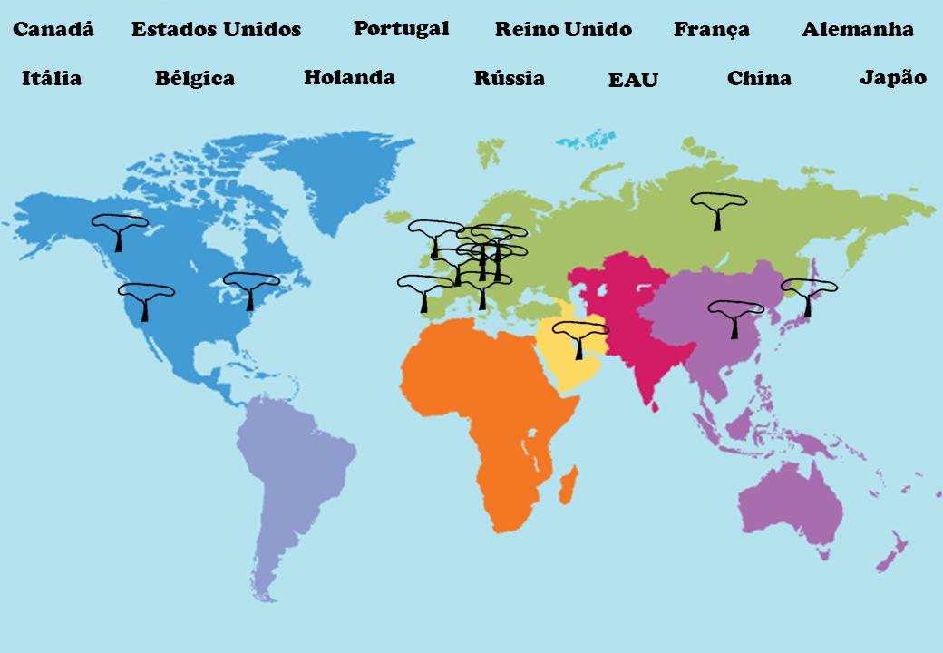 CanadáEstados Unidos Portugal Reino UnidoFrança Alemanha ItáliaRússia EAU China Japão Bélgica Holanda