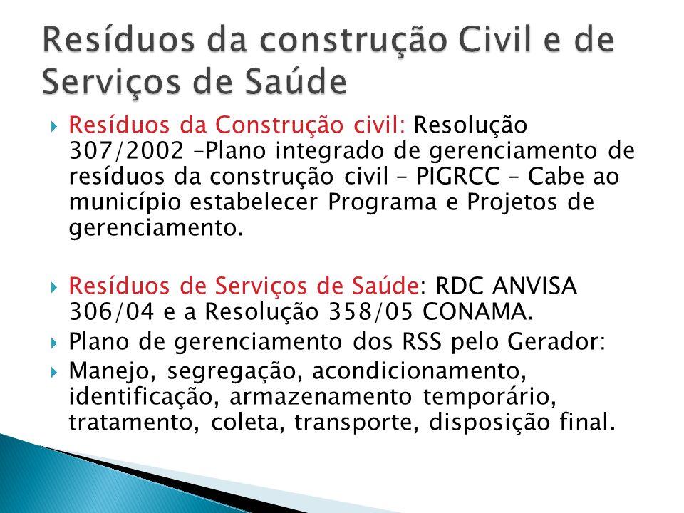 Resíduos da Construção civil: Resolução 307/2002 –Plano integrado de gerenciamento de resíduos da construção civil – PIGRCC – Cabe ao município estabelecer Programa e Projetos de gerenciamento.