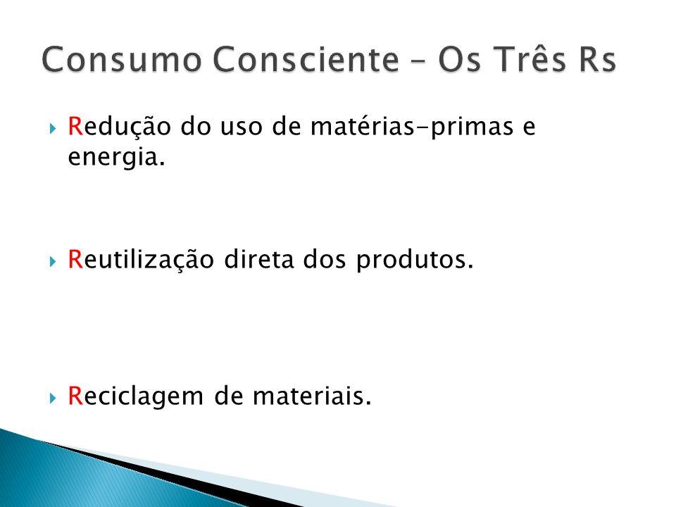 Redução do uso de matérias-primas e energia. Reutilização direta dos produtos. Reciclagem de materiais.