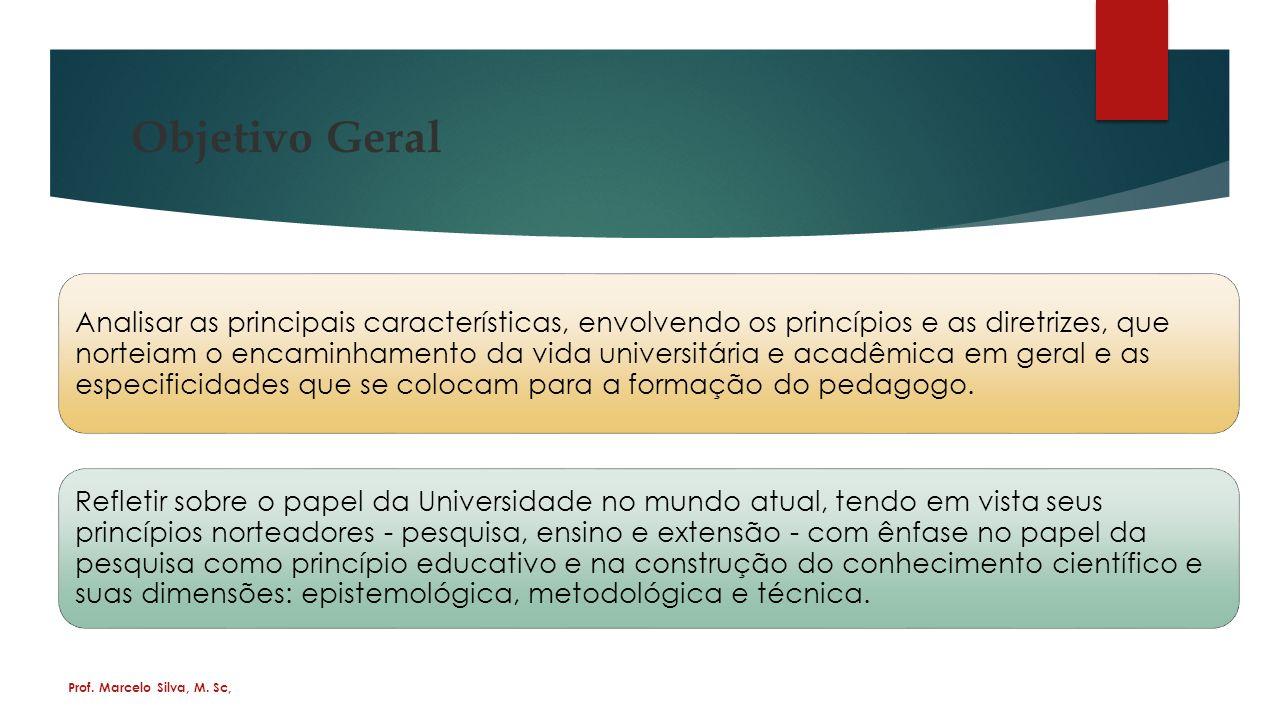 Objetivo Geral Analisar as principais características, envolvendo os princípios e as diretrizes, que norteiam o encaminhamento da vida universitária e