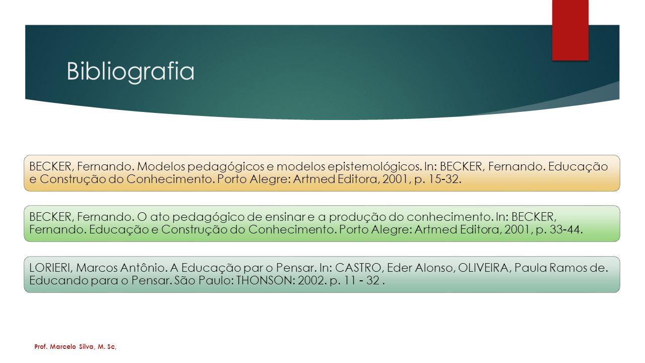 Bibliografia BECKER, Fernando.Modelos pedagógicos e modelos epistemológicos.