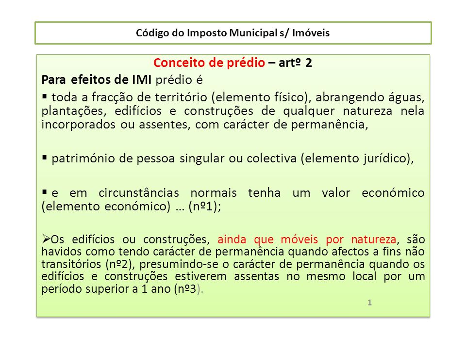 Código do Imposto Municipal s/ Imóveis 2ª.