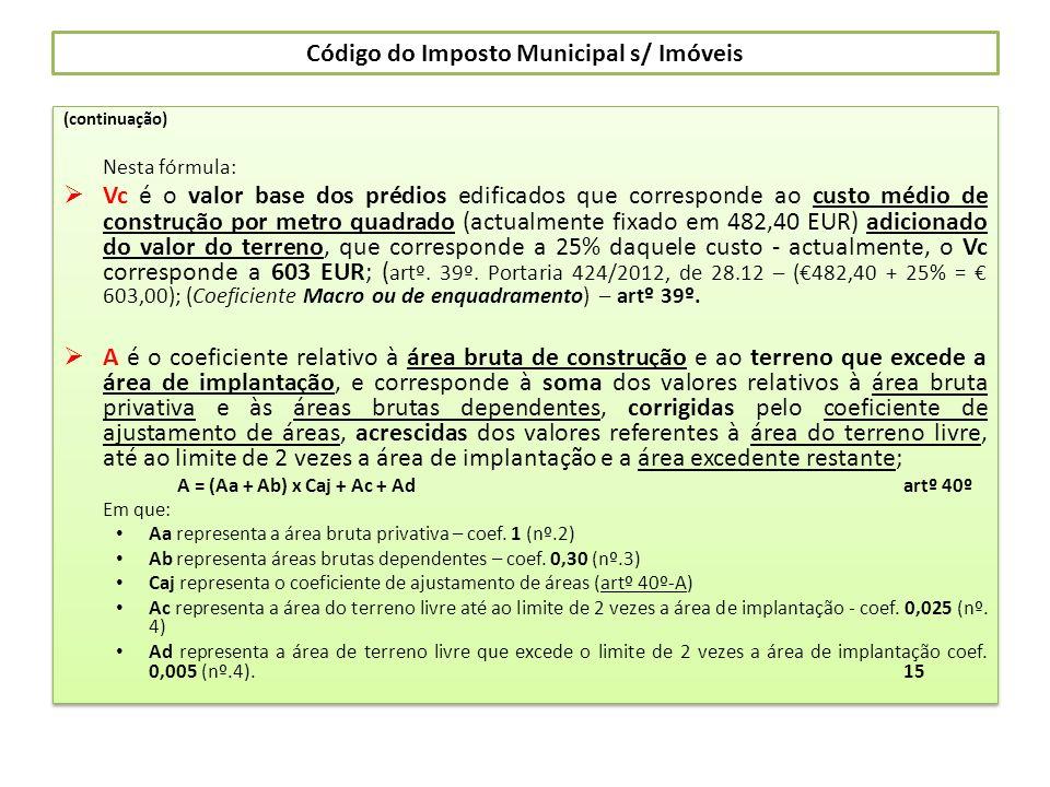 Código do Imposto Municipal s/ Imóveis (continuação) Nesta fórmula: Vc é o valor base dos prédios edificados que corresponde ao custo médio de constru