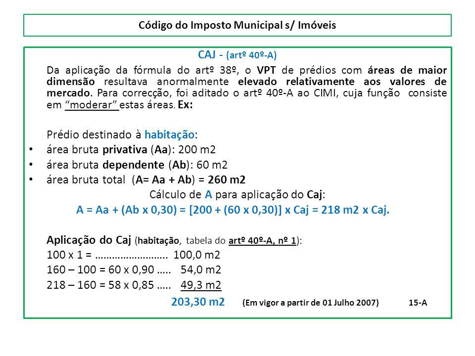 Código do Imposto Municipal s/ Imóveis CAJ - (artº 40º-A) Da aplicação da fórmula do artº 38º, o VPT de prédios com áreas de maior dimensão resultava