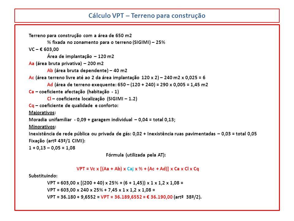 Cálculo VPT – Terreno para construção Terreno para construção com a área de 650 m2 % fixada no zonamento para o terreno (SIGIMI) – 25% VC – 603,00 Áre