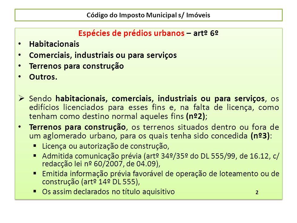 Código do Imposto Municipal s/ Imóveis Espécies de prédios urbanos – artº 6º Habitacionais Comerciais, industriais ou para serviços Terrenos para cons