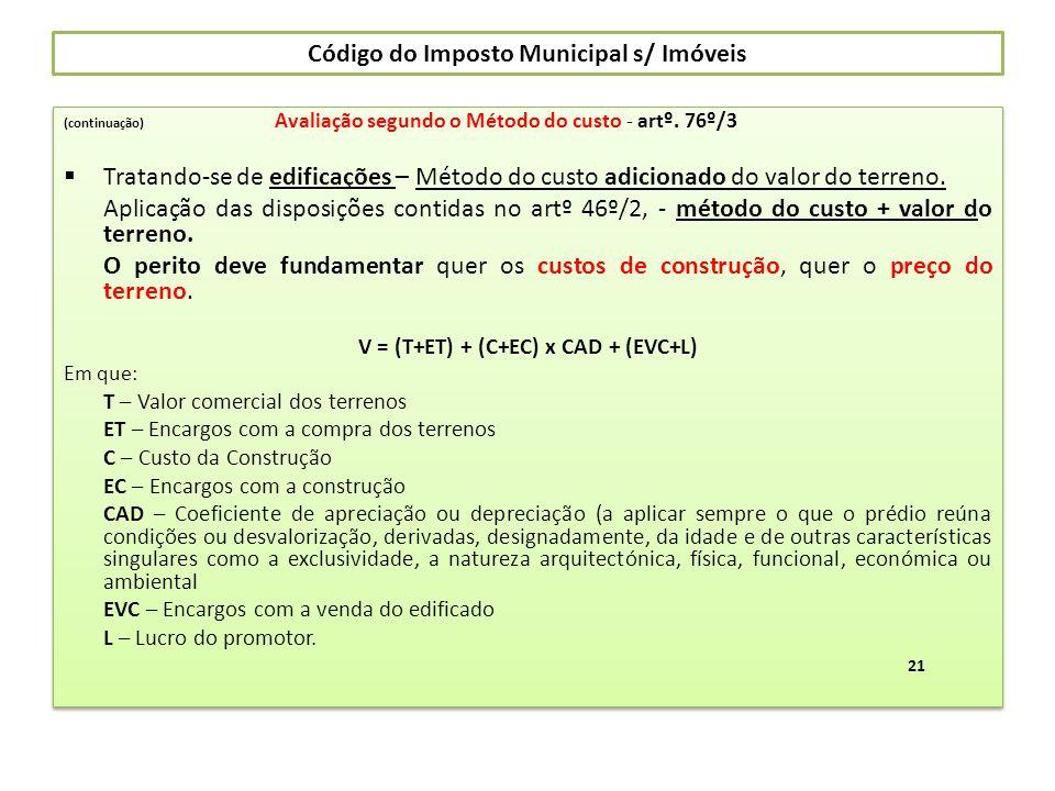 Código do Imposto Municipal s/ Imóveis (continuação) Avaliação segundo o Método do custo - artº. 76º/3 Tratando-se de edificações – Método do custo ad