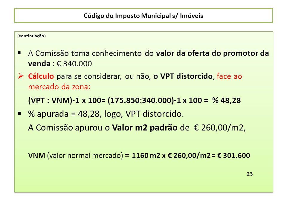 Código do Imposto Municipal s/ Imóveis (continuação) A Comissão toma conhecimento do valor da oferta do promotor da venda : 340.000 Cálculo para se co