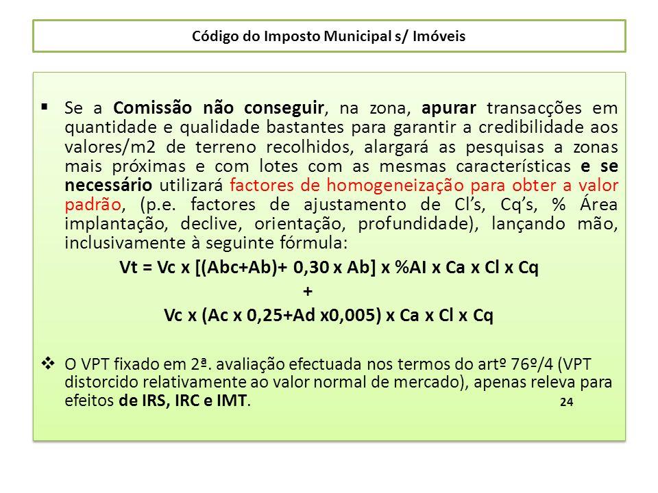 Código do Imposto Municipal s/ Imóveis Se a Comissão não conseguir, na zona, apurar transacções em quantidade e qualidade bastantes para garantir a cr