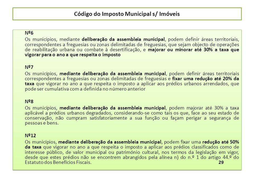 Código do Imposto Municipal s/ Imóveis Nº6 Os municípios, mediante deliberação da assembleia municipal, podem definir áreas territoriais, corresponden