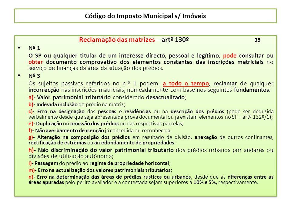 Código do Imposto Municipal s/ Imóveis Reclamação das matrizes – artº 130º 35 Nº 1 O SP ou qualquer titular de um interesse directo, pessoal e legítim