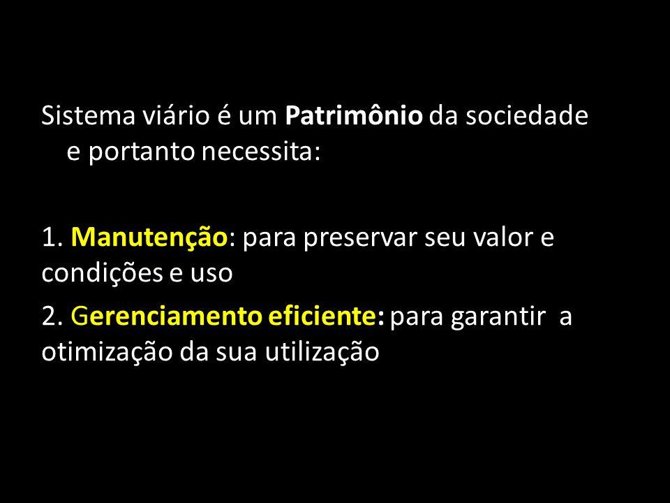 Sistema viário é um Patrimônio da sociedade e portanto necessita: 1. Manutenção: para preservar seu valor e condições e uso 2. Gerenciamento eficiente