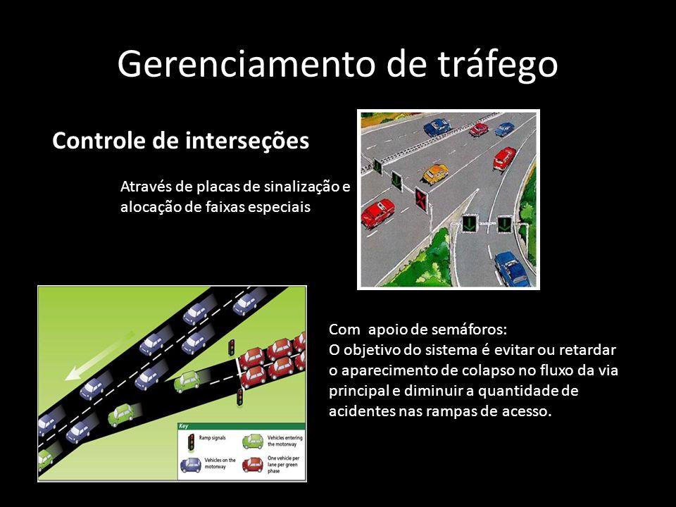 Gerenciamento de tráfego Com apoio de semáforos: O objetivo do sistema é evitar ou retardar o aparecimento de colapso no fluxo da via principal e dimi