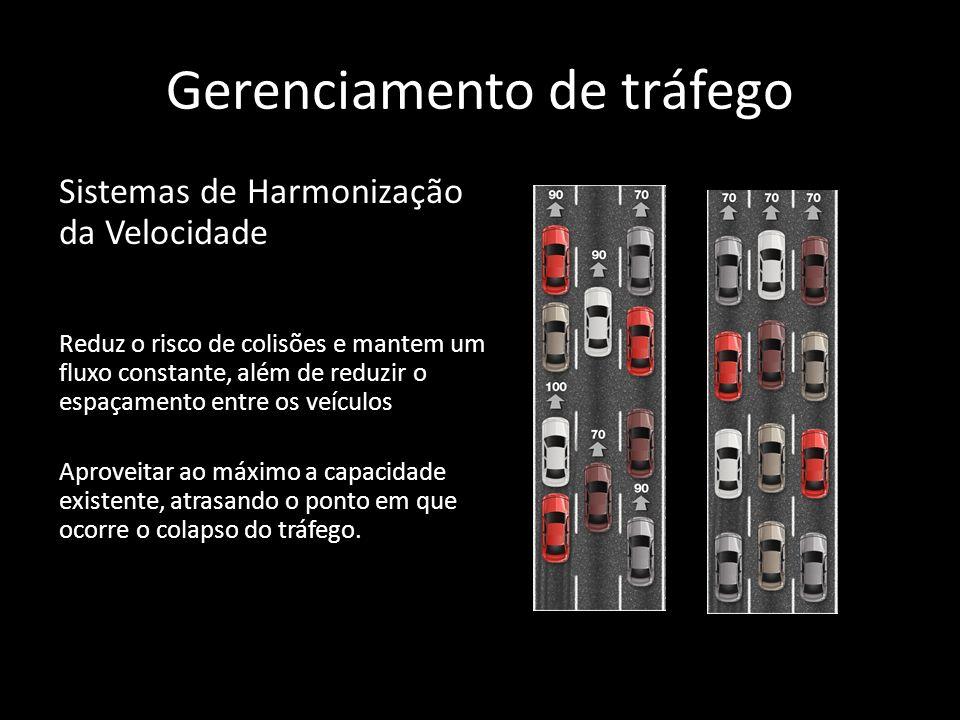 Gerenciamento de tráfego Sistemas de Harmonização da Velocidade Reduz o risco de colisões e mantem um fluxo constante, além de reduzir o espaçamento e