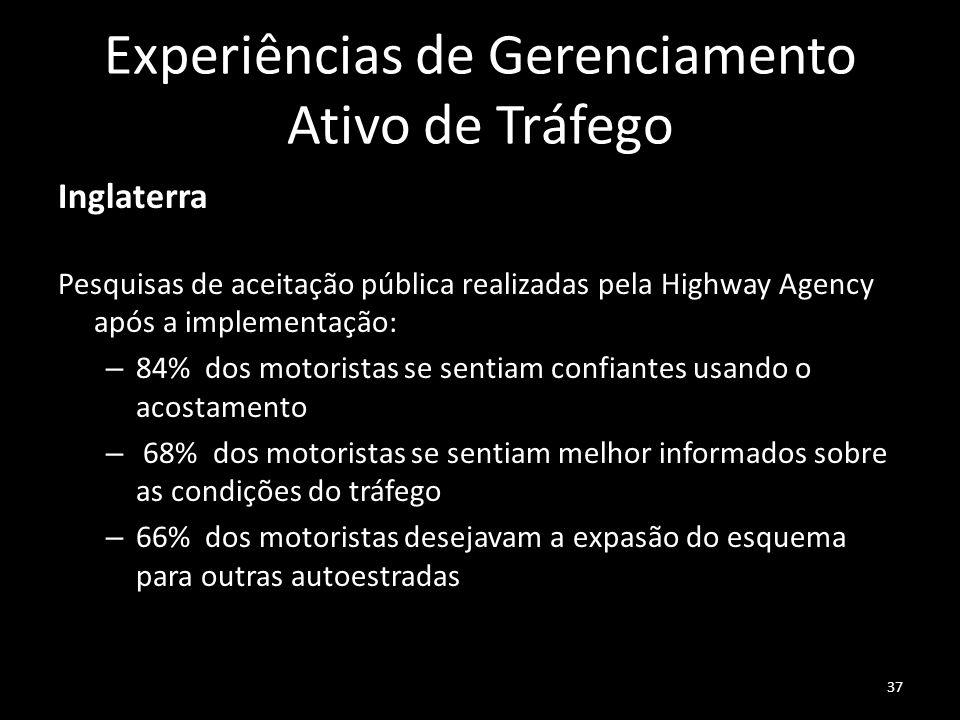 Experiências de Gerenciamento Ativo de Tráfego Inglaterra Pesquisas de aceitação pública realizadas pela Highway Agency após a implementação: – 84% do