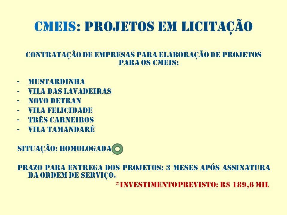 Cmeis: projetos em licitação CONTRATAÇÃO DE EMPRESAS PARA ELABORAÇÃO DE PROJETOS PARA OS CMEIS: -MUSTARDINHA -VILA DAS LAVADEIRAS -NOVO DETRAN -VILA F