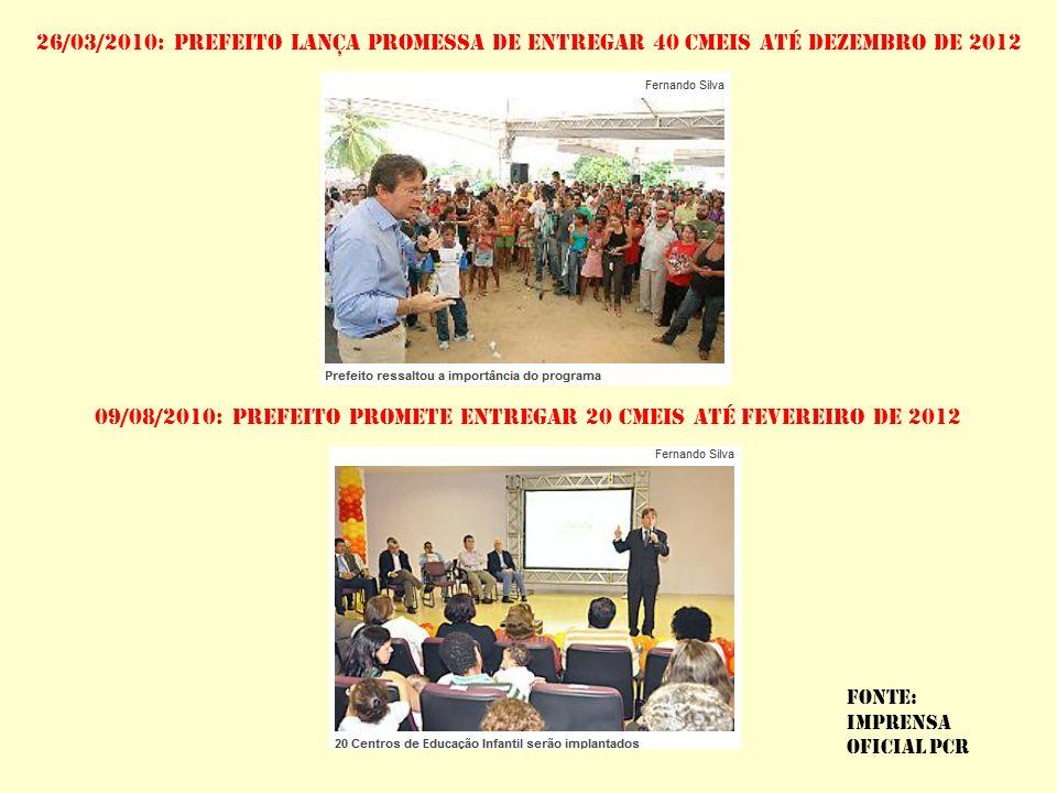 Cmeis em construção 1)CMEI DARCY RIBEIRO, CORDEIRO VALOR DA OBRA: R$ 1,465 MILHÕES EMPRESA: CC.