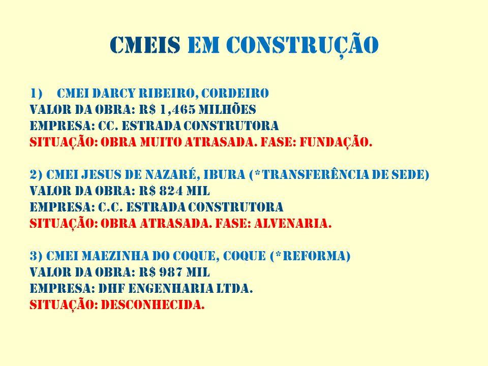 Cmeis em construção 1)CMEI DARCY RIBEIRO, CORDEIRO VALOR DA OBRA: R$ 1,465 MILHÕES EMPRESA: CC. ESTRADA CONSTRUTORA SITUAÇÃO: OBRA MUITO ATRASADA. FAS