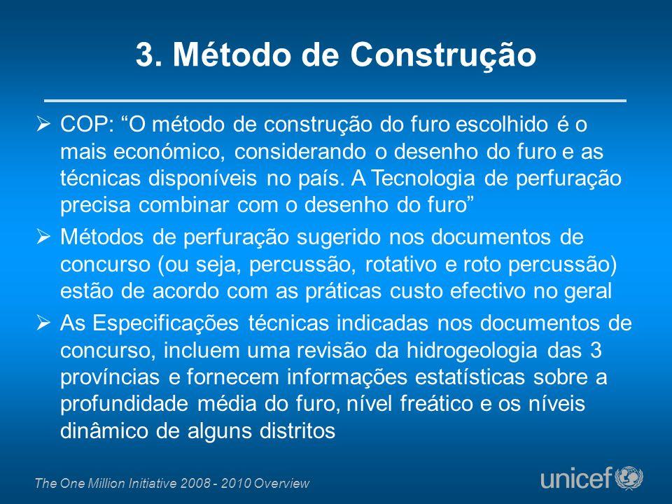 The One Million Initiative 2008 - 2010 Overview COP: O método de construção do furo escolhido é o mais económico, considerando o desenho do furo e as