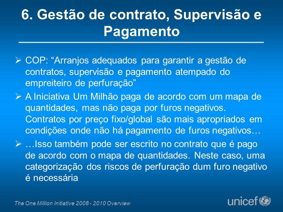 The One Million Initiative 2008 - 2010 Overview COP: Arranjos adequados para garantir a gestão de contratos, supervisão e pagamento atempado do emprei
