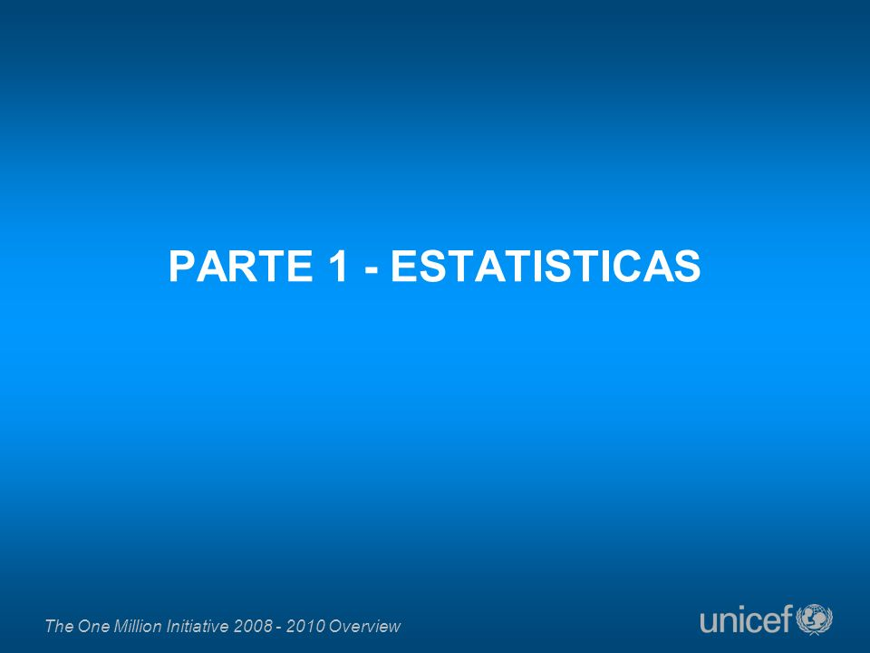 The One Million Initiative 2008 - 2010 Overview PARTE 1 - ESTATISTICAS