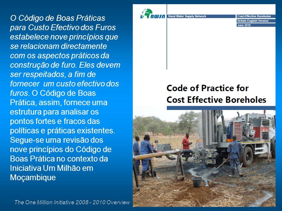 The One Million Initiative 2008 - 2010 Overview O Código de Boas Práticas para Custo Efectivo dos Furos estabelece nove princípios que se relacionam d