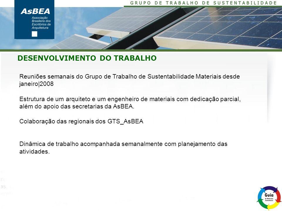 DESENVOLVIMENTO DO TRABALHO Reuniões semanais do Grupo de Trabalho de Sustentabilidade Materiais desde janeiro|2008 Estrutura de um arquiteto e um eng