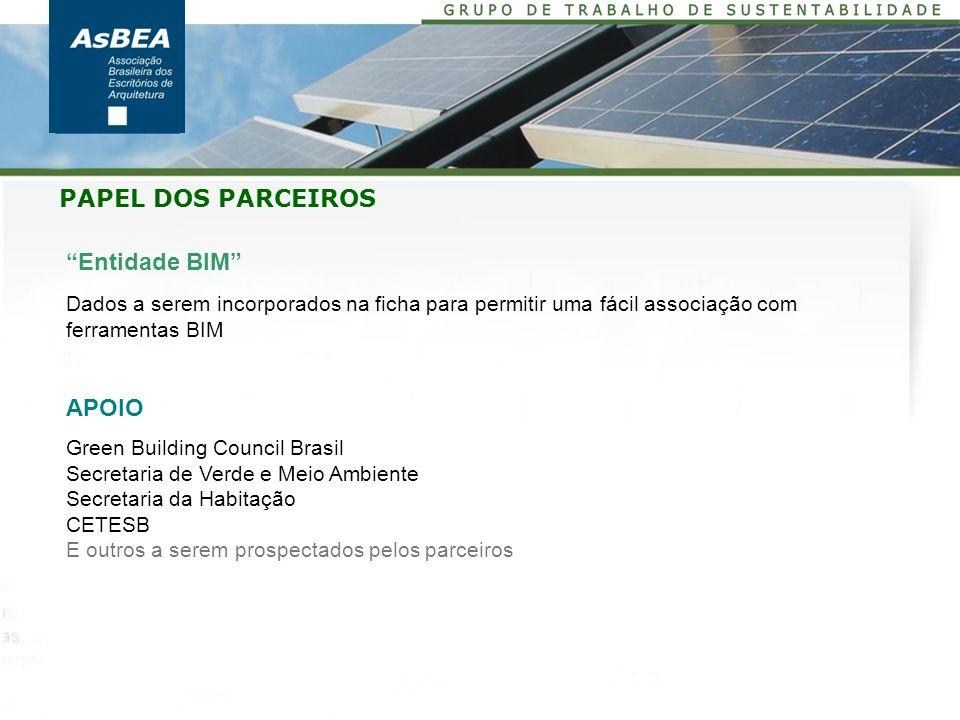 Entidade BIM Dados a serem incorporados na ficha para permitir uma fácil associação com ferramentas BIM APOIO Green Building Council Brasil Secretaria