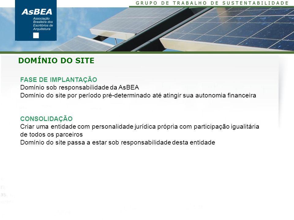 FASE DE IMPLANTAÇÃO Domínio sob responsabilidade da AsBEA Domínio do site por período pré-determinado até atingir sua autonomia financeira CONSOLIDAÇÃ