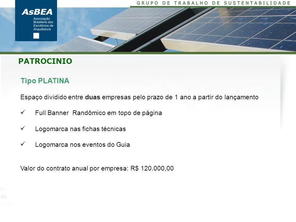 Tipo PLATINA Espaço dividido entre duas empresas pelo prazo de 1 ano a partir do lançamento Full Banner Randômico em topo de página Logomarca nas fich