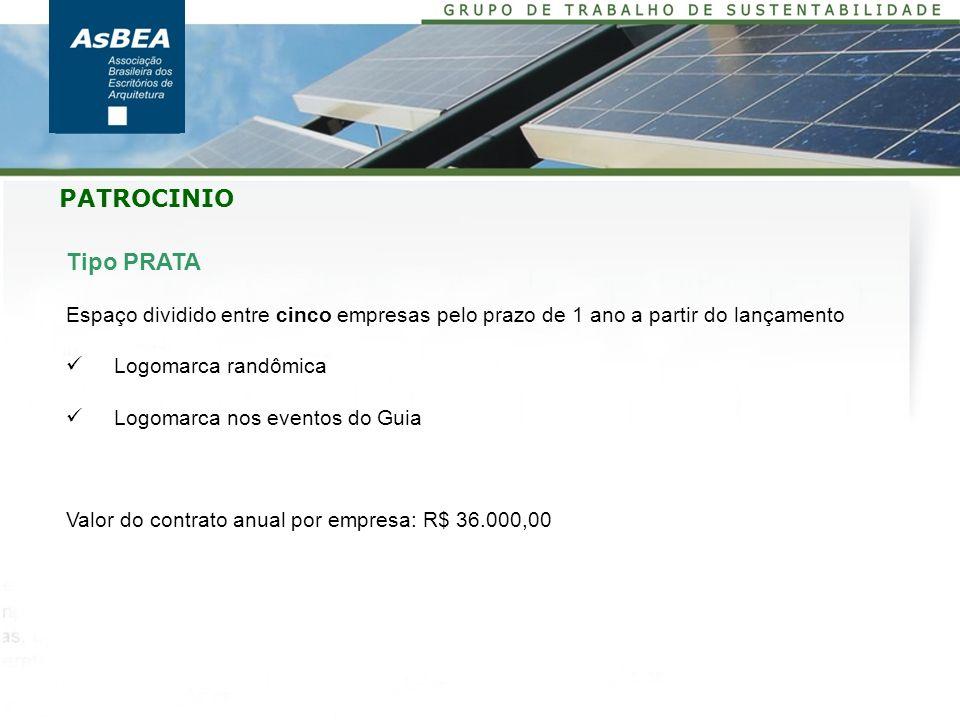 Tipo PRATA Espaço dividido entre cinco empresas pelo prazo de 1 ano a partir do lançamento Logomarca randômica Logomarca nos eventos do Guia Valor do