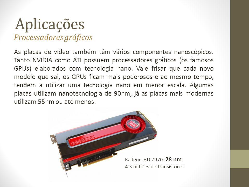 Aplicações As placas de vídeo também têm vários componentes nanoscópicos. Tanto NVIDIA como ATI possuem processadores gráficos (os famosos GPUs) elabo