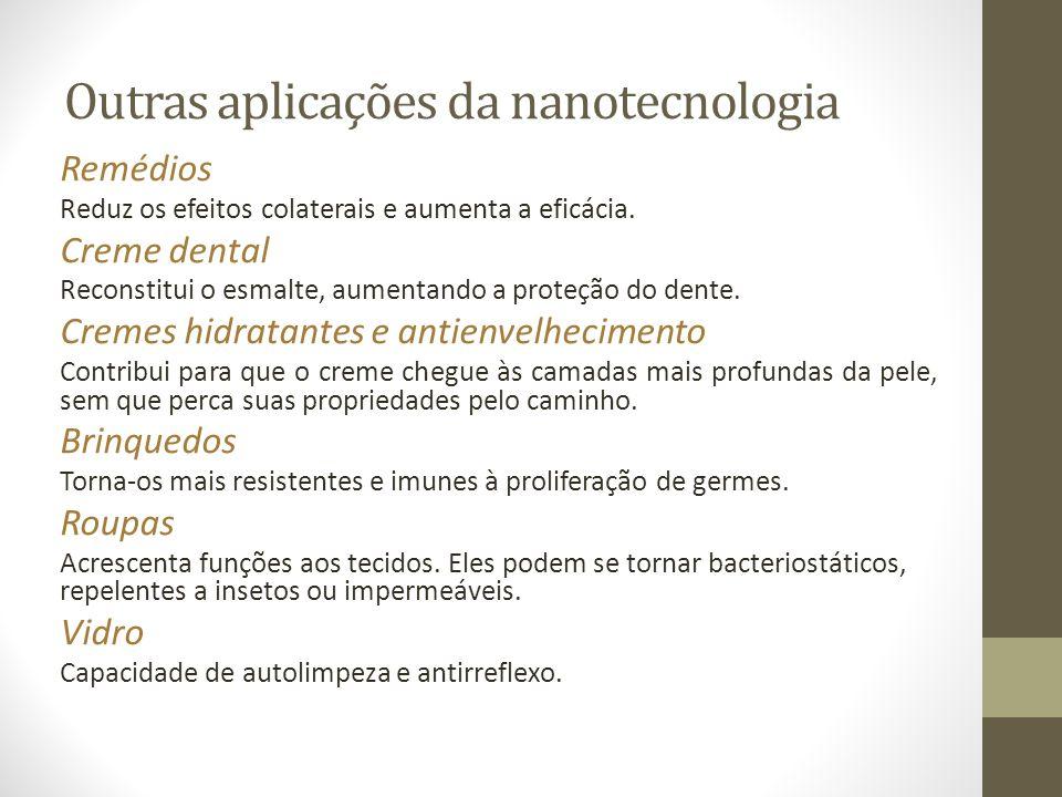 Outras aplicações da nanotecnologia Remédios Reduz os efeitos colaterais e aumenta a eficácia. Creme dental Reconstitui o esmalte, aumentando a proteç