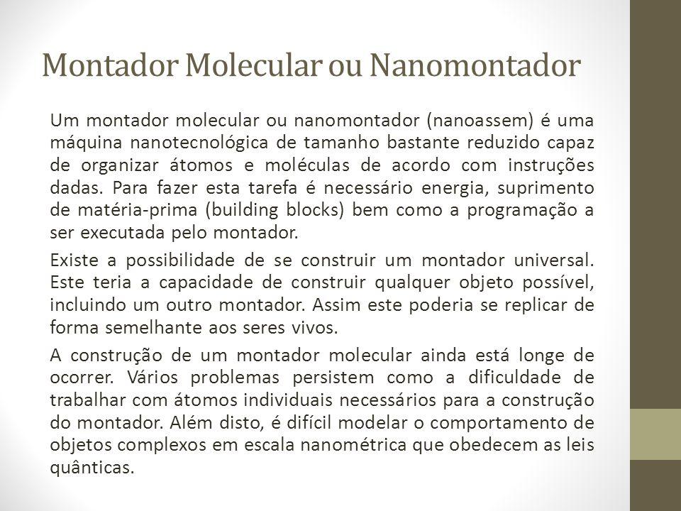 Montador Molecular ou Nanomontador Um montador molecular ou nanomontador (nanoassem) é uma máquina nanotecnológica de tamanho bastante reduzido capaz