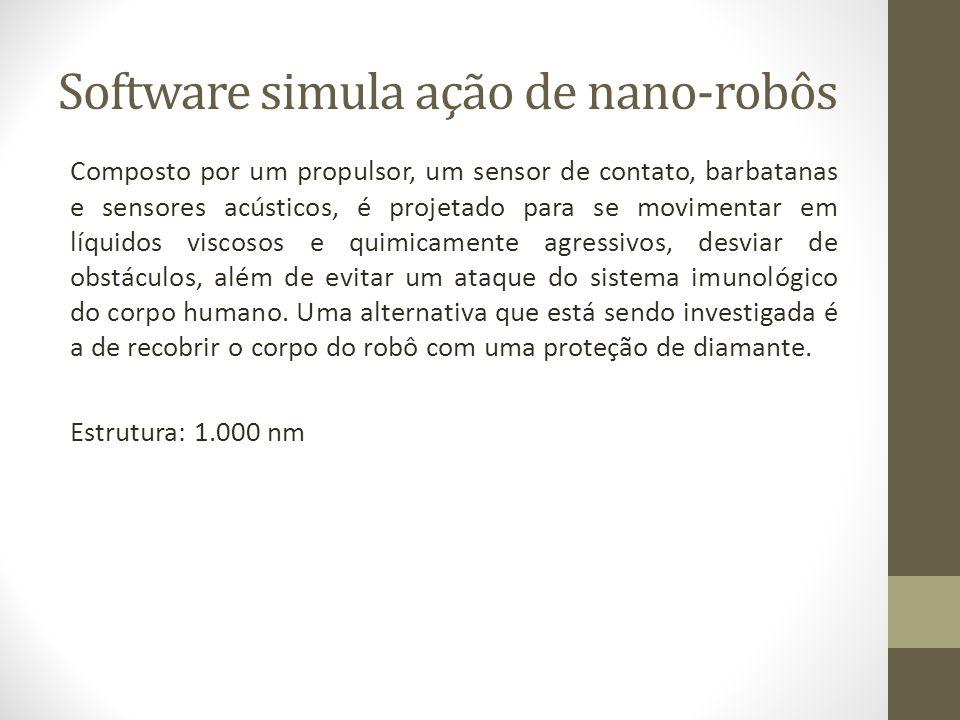 Software simula ação de nano-robôs Composto por um propulsor, um sensor de contato, barbatanas e sensores acústicos, é projetado para se movimentar em