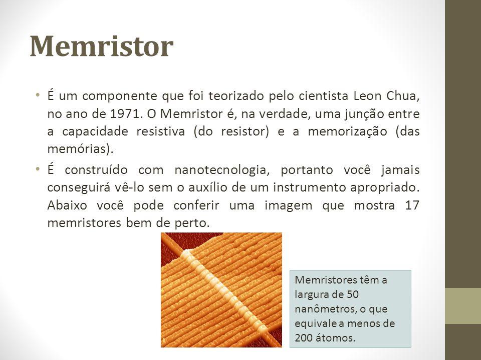 Memristor É um componente que foi teorizado pelo cientista Leon Chua, no ano de 1971. O Memristor é, na verdade, uma junção entre a capacidade resisti