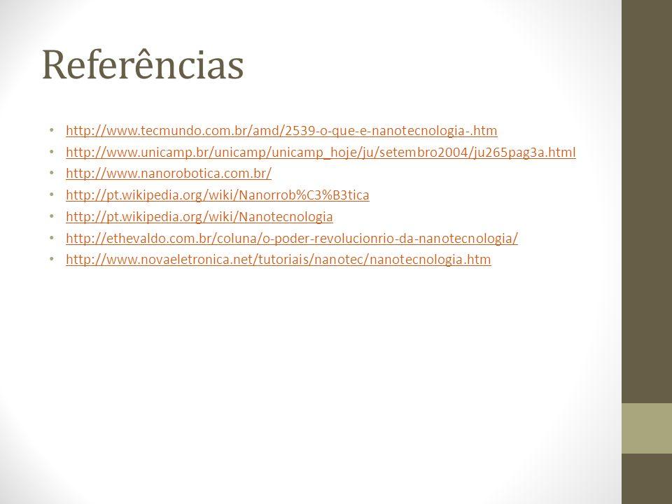 Referências http://www.tecmundo.com.br/amd/2539-o-que-e-nanotecnologia-.htm http://www.unicamp.br/unicamp/unicamp_hoje/ju/setembro2004/ju265pag3a.html
