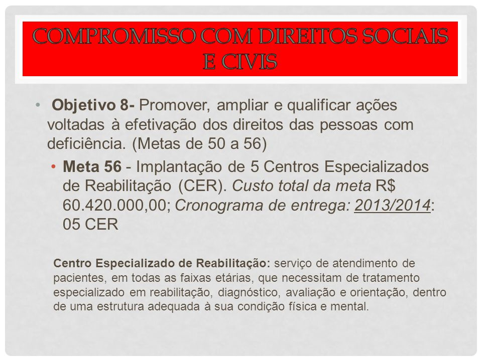 Objetivo 8- Promover, ampliar e qualificar ações voltadas à efetivação dos direitos das pessoas com deficiência. (Metas de 50 a 56) Meta 56 - Implanta