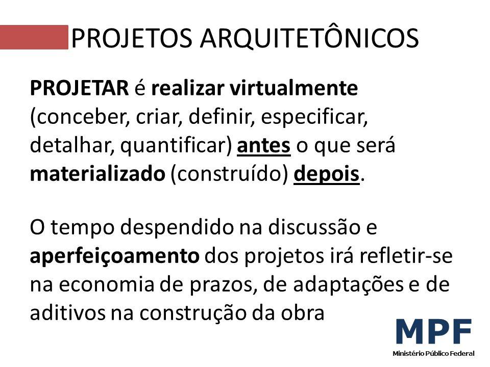 PROJETAR é realizar virtualmente (conceber, criar, definir, especificar, detalhar, quantificar) antes o que será materializado (construído) depois. O