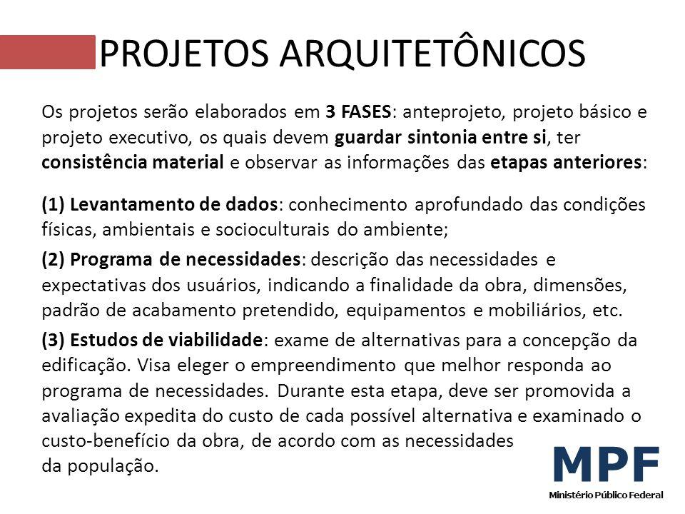Os projetos serão elaborados em 3 FASES: anteprojeto, projeto básico e projeto executivo, os quais devem guardar sintonia entre si, ter consistência m