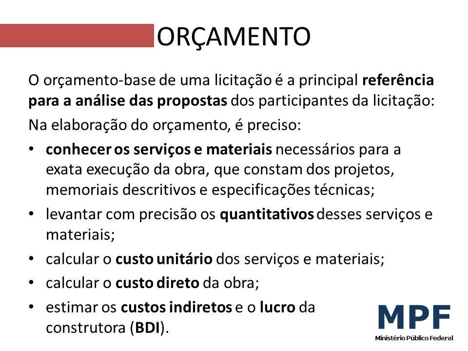 O orçamento-base de uma licitação é a principal referência para a análise das propostas dos participantes da licitação: Na elaboração do orçamento, é