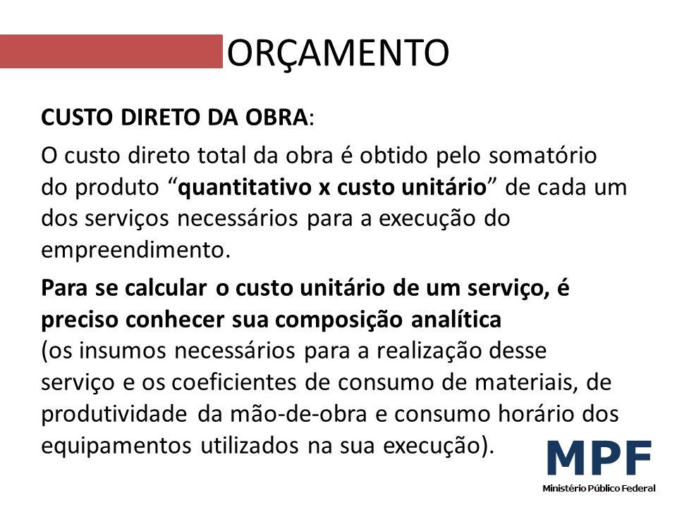 CUSTO DIRETO DA OBRA: O custo direto total da obra é obtido pelo somatório do produto quantitativo x custo unitário de cada um dos serviços necessário