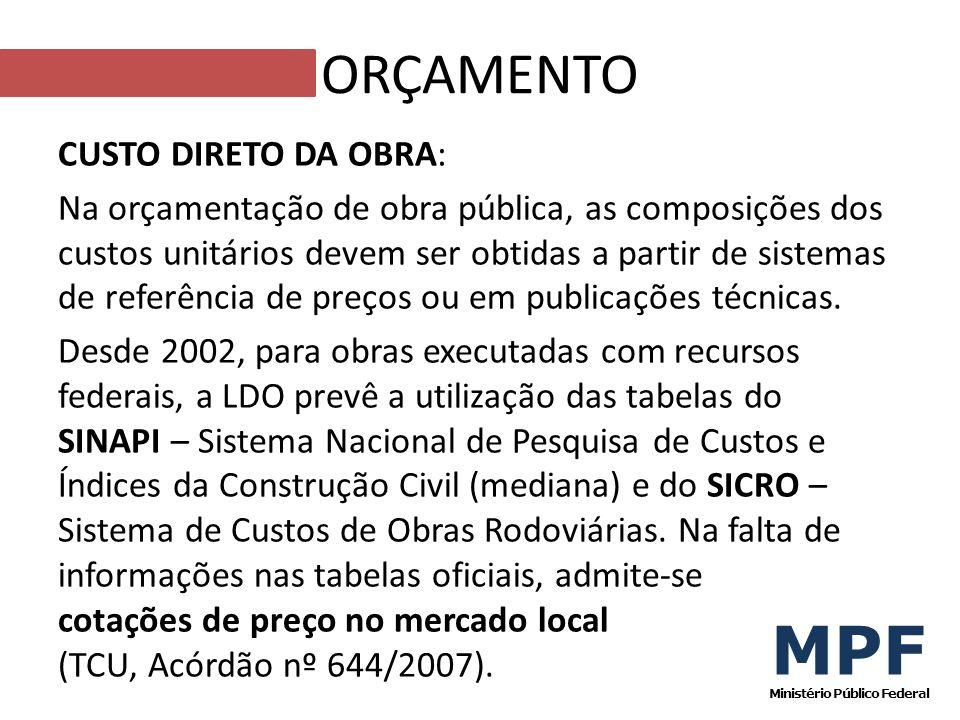 CUSTO DIRETO DA OBRA: Na orçamentação de obra pública, as composições dos custos unitários devem ser obtidas a partir de sistemas de referência de pre